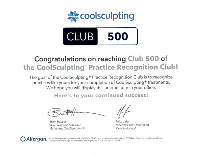 CoolSculpting Club 500 Award